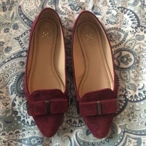 Vince Camuto Oxblood Suede Flats w Bow Detail